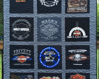 T- Shirt Quilt, 12 Shirts, YOU PICK FABRICS, Custom made from clothing (Deposit),  Cool Quilts, Upcycled Tees