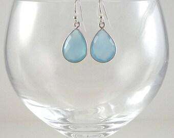 Blue Chalcedony Earrings Gemstone Earrings Light Cornflower Blue Gemstone Earrings Light Blue Drop Earrings Blue Sterling Teardrop Earrings
