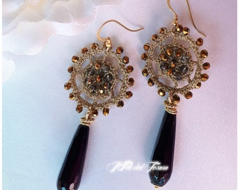 Brass Earrings with black onyx drop and lame crochet work/elegant Accessories