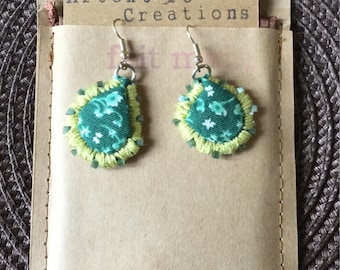 Earrings green girly liberty, gift for her