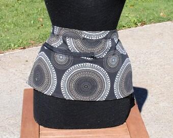 Vendor Apron Server Apron Cash Apron Travel Apron  Zipper Black Geometric Heavy Weight