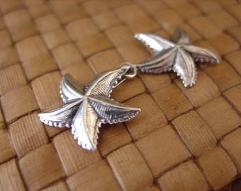 Antiqued Sterling Silver Starfish Hook Clasp, 1 or 2 sets, 43x19mm