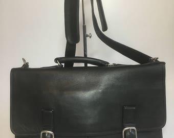"Vintage Coach? genuine Black Leather 16"" Briefcase Business Laptop Bag Messenger Attache Bag"