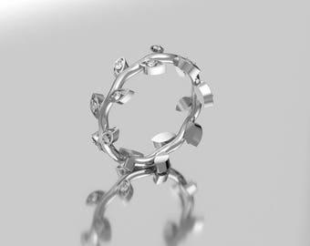 14KT White Gold Diamond Leaf  Branch Engagement Ring