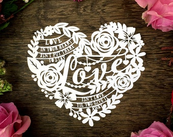 Papercut Template 'Love in your heart' Love Heart Valentines Wedding Anniversary PDF JPEG for handcut & SVG for Silhouette Cameo or Cricut