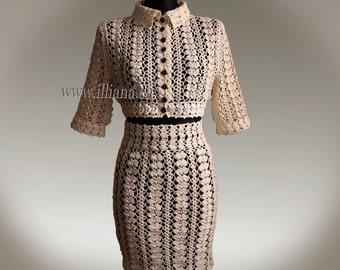 Crochet Pattern . Knee Length Suit  No 219