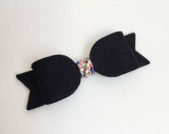 Mini Felt Bow - Black