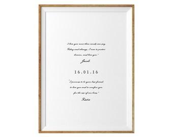 Valentines Day Gift. Wedding Vows Keepsake Print for Newlyweds & Anniversaries - Love Sayings