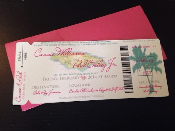 Jamaica Wedding Invitations: Jamaica Boarding Pass Invitation. Boarding Pass Wedding