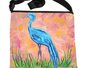 Blue Crane Large Cross Body Bucket Bag, by Salvador Kitti  - Support Wildlife Conservation, Read How