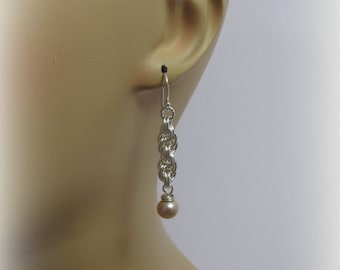 Chain Maille Earrings, Double Spiral, Argentium Silver, Freshwater Pearl Earrings, Handmade by RiverGum Jewellery