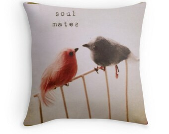 Celebration of Life - Wedding (photo throw pillow cushion cover gift, soul mates meaningful inspirational romantic love quote love birds