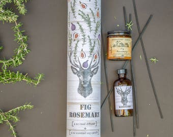 Scented Candle + Reed Diffuser Gift Set FIG ROSEMARY, Handcrafted Gift, Stag, natural oil diffuser, essential oil, organic candle