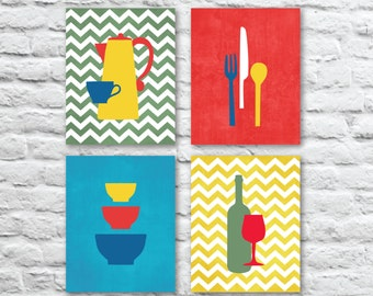 Kitchen Art Prints with Coffee, Wine, Utensils and Bowls with Chevrons, Kitchen Prints Set of (4) - Multi-Sizes // Modern Kitchen - Unframed