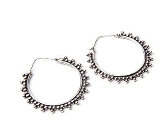 White Brass Afghani Dots Hoop  Earrings Tribal Earrings Mandala Jewellery Free UK Delivery Gift Boxed WB16 WBH1