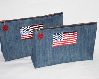 Americana Zippered Clutch bag with Sequin Flag