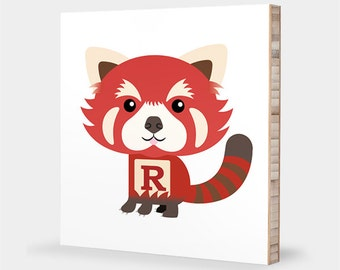 R or P for Red Panda : ABC Block Bamboo Wall Art Series // Alphabet Kids Wall Art Nursery Room Decor Animal Baby