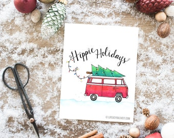 Hippie Holidays Hand Lettered Watercolor Print / Christmas / Christmas gifts / Hippie Decor / Etsy Fresh / VW Bus / VW Bus Decor
