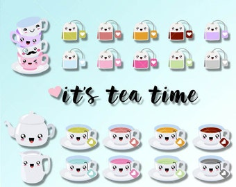 Its Tea Time Kawaii Clipart. Cute tea time graphics great for Planner Stickers or Scrapbooking. Digitl clip art, commercial use is ok