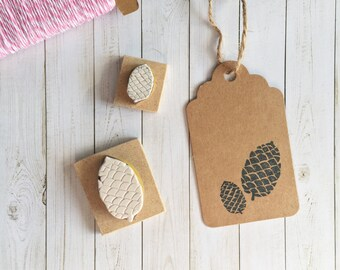 Pine Cone Stamp, Christmas, Merry Christmas, Holiday Stamp, Winter Stamp, Nature Stamp, Merry Xmas, Rubber Stamp - Stamp Set