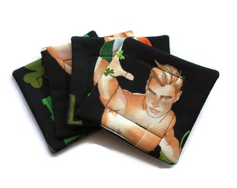 Handmade Quilted Coasters Black Irish Hunks Body Part set of 4 St. Patrick's Day Ireland Irish