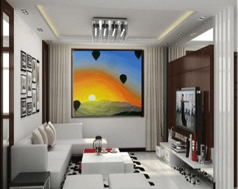 Acrylic Painting- Original- Sunset- hot air balloons- landscape - one of a kind