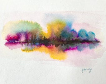 """9x12"""" colorful abstract watercolor and ink landscape"""