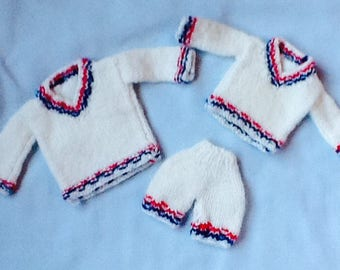 Tennis Anyone?  Hand knit doll clothes