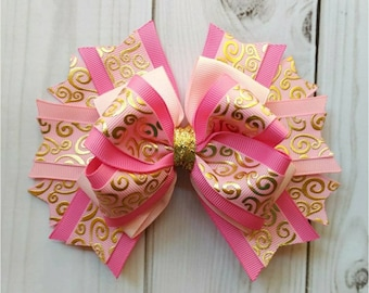 Pink and Gold Hair Bow/Pink and Gold Hair Clip/Pink and Gold Bow/Pink and Gold Hair Accessory/Pink and Gold Accessory/Gold and Pink Hair Bow