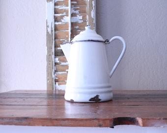 Vintage French Enamel Coffee Pot // Kitchenwares