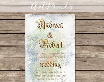 Vintage Wedding Invitation Printable, Vintage Paper Wedding Invites, Gold Wedding Invitation Printable