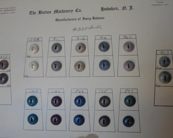 Lot VINTAGE Salesman Sample Card of Matte Plain Dyed Sew Thru Vegetable Ivory or Tagua Nut BUTTONS 122