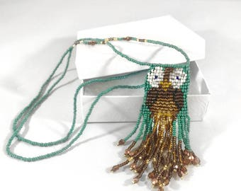 Beaded Owl Amulet Bag - Amulet Pouch - Beaded Owl Necklace - Beaded Amulet - Owl Amulet Pendant - Owl Jewelry - Amulet Necklace - Owl Amulet