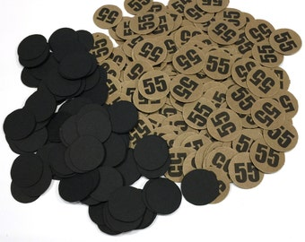 55th Birthday Party Confetti 3/4 Inch Circles - Black and Kraft Brown or Your Colors