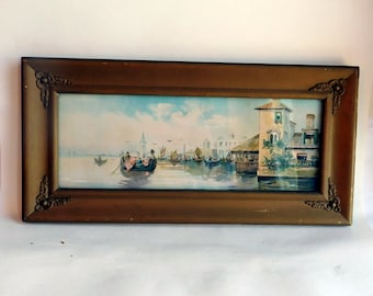 """Antique 1906 Chromolithograph """"A Venetian Scene"""" - Printed by James Lee and Company, Chicago - Original or Period Edwardian Gold Frame"""