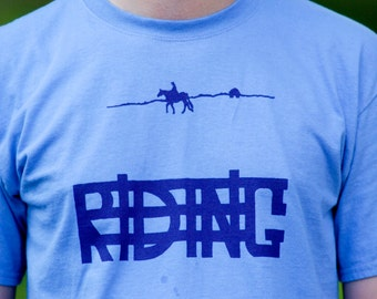 RIDING Hand-Crafted Screen-Printed 100% Cotton T-Shirt in Lavender & Purple