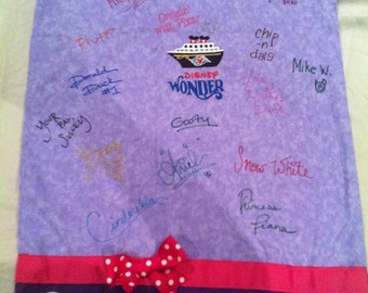 Deluxe Personalized Disney Cruise or Park Autograph Pillowcase