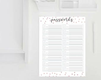 Printable Rose Gold Password Keeper *Organizational Printable*