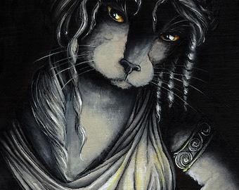 Pandora Box Cat Art Greek Myth Fine Art Print 5x7