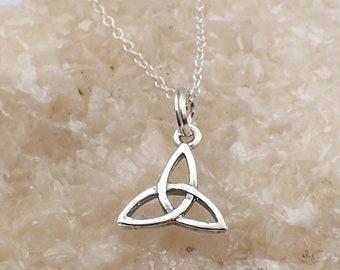 Celtic Necklace Sterling Silver Triquetra Charm Pendant Cable Chain