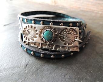 Bracelet argent et Turquoise, 5 fois Wrap bleu en cuir clouté, Style sud-ouest, soleil argent lien, lunette argent Turquoise, bijoux artisanaux