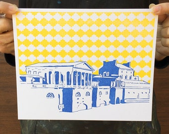 "Philadelphia Letterpress Poster | Water Works in Fairmount | royal blue & yellow 8"" x 10"" poster"
