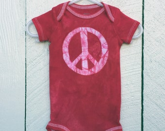 Peace Sign Baby Bodysuit, Baby Peace Sign Bodysuit, Peace Sign Baby Gift, Red Baby Shower Gift, Gender Neutral Baby Gift (3-6 months)