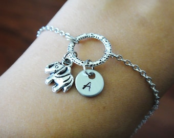 Circle Forever Personalized Bridesmaid Gift and Initial Elephant Bracelet