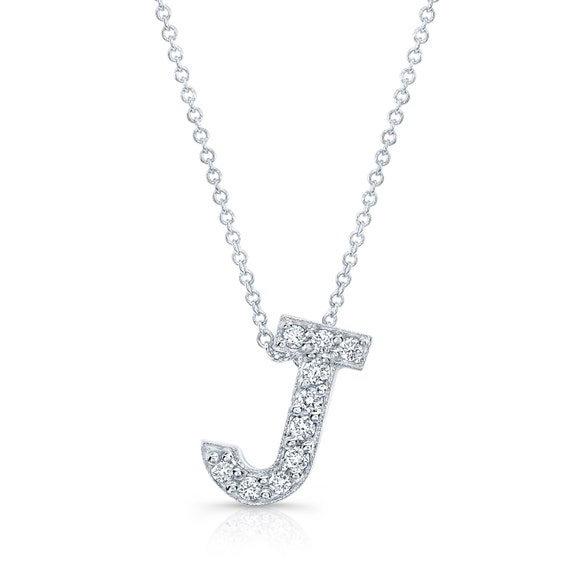 Diamond initial pendant in the letter j 14k white te gusta este artculo aloadofball Images