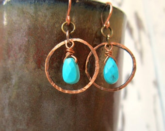 Genuine Turquoise Earrings.Natural Turquoise Faceted Semi Precious Stone & Hammered Copper Circle Dangle Earrings. Genuine Turquoise Jewelry