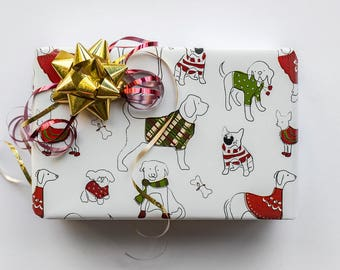 Dog Wrapping Paper| 2 feet x 10 feet| Christmas Gift Wrapping Paper| Dog Gift Wrap| Wrapping Paper| Gift Wrap| Dog Wrapping Paper| Dog Lover