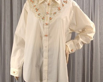 Vintage Oversized Embellished Shirt Roses and Button Covers Size Mens XL b52 made in USA