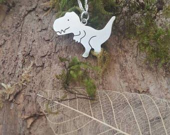Handmade Sterling silver T-Rex dinosaur pendant/necklace- dino, tyrannosaurus rex