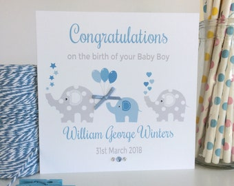 Personalised Elephant New Baby Boy Card, New Baby Card, New Arrival Card, Congratulations Card, Baby Boy Card  (LB058)